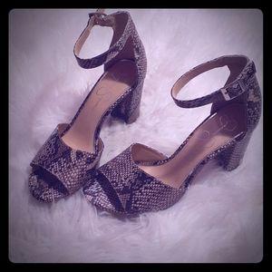 Snake patterned heels